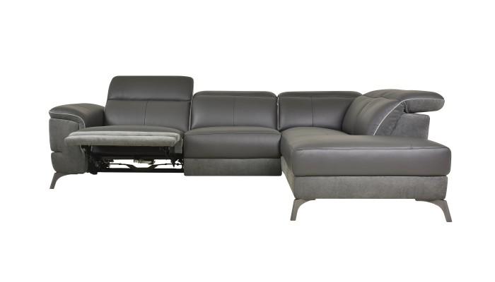 DUO PLUS - Canapé d'angle convertible réversible design prune et blanc