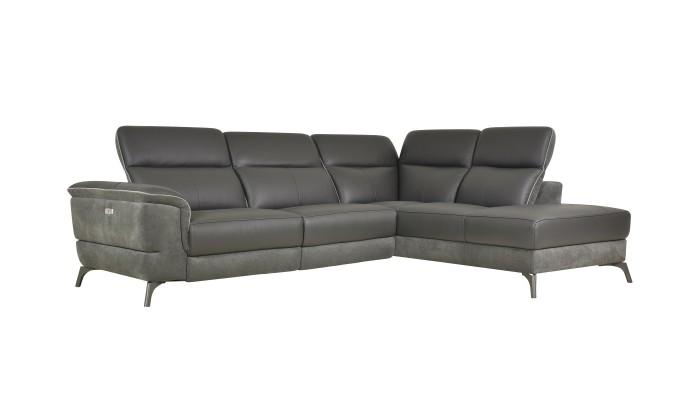 DUO PLUS - Canapé d'angle convertible réversible design gris foncé et blanc