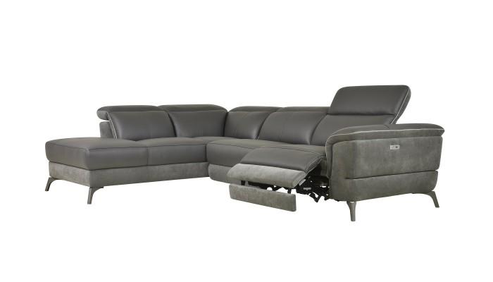 DUO PLUS - Canapé d'angle convertible réversible design gris clair et bycast