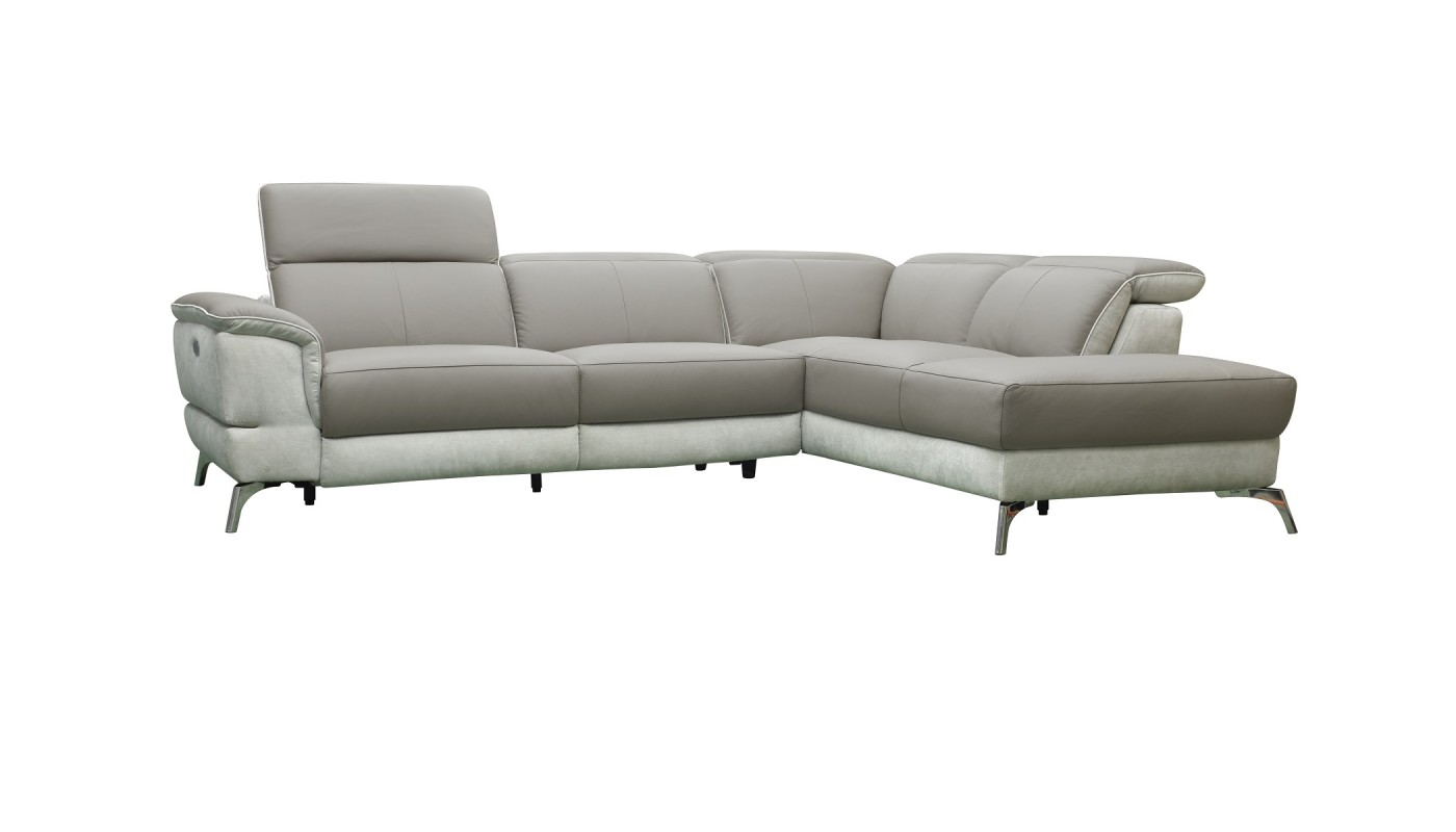 Tobi canap d 39 angle modulable design tissu gris clair - Canape d angle gris clair ...
