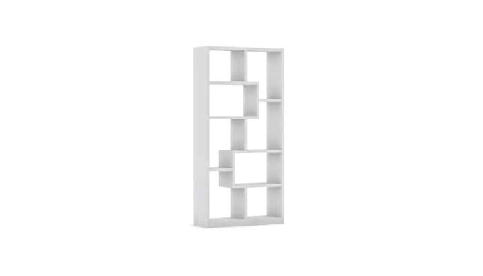 CAVE - Meuble bas 2 portes 2 tiroirs blanc et gris