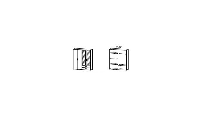 MENTON - Armoire 4 portes dont 2...